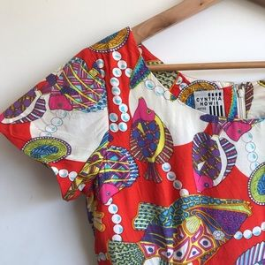 Vintage Tropical Pattern Dress